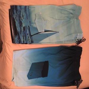 Boys (2) First Wave swim trunks. Sz 14-16